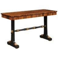 English Regency Console Table circa 1830 with Rosewood Top and Ebonized Base